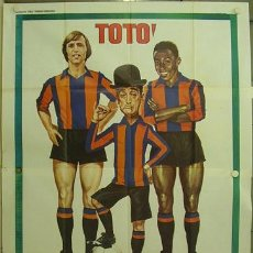 Cine: WS38D JOHAN CRUYFF PELE TOTO FUTBOL CLUB BARCELONA RARISIMO POSTER ORIGINAL ITALIANO 140X200. Lote 21583622