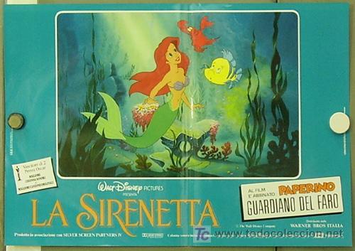 FM61 LA SIRENITA WALT DISNEY SET 6 POSTERS ORIGINALES ITALIANOS 47X68 (Cine - Posters y Carteles - Infantil)