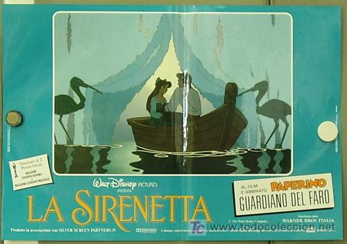 Cine: FM61 LA SIRENITA WALT DISNEY SET 6 POSTERS ORIGINALES ITALIANOS 47X68 - Foto 6 - 10144484
