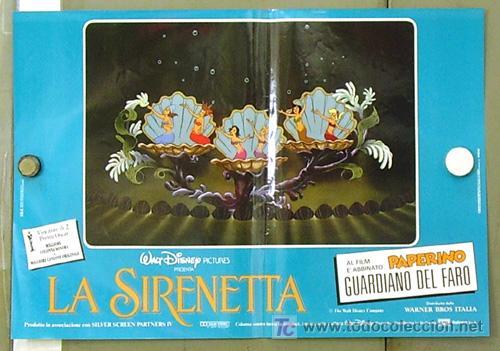 Cine: FM61 LA SIRENITA WALT DISNEY SET 6 POSTERS ORIGINALES ITALIANOS 47X68 - Foto 3 - 10144484