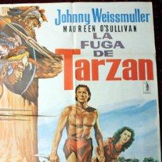 Cine: LA FUGA DE TARZAN (CARTEL ORIGINAL) JOHNNY WEISSMULLER - MAUREEN O' SULLIVAN. Lote 27043467