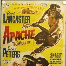 Cine: FO91 APACHE BURT LANCASTER JEAN PETERS POSTER ORIGINAL 70X100 ESTRENO LITOGRAFIA. Lote 11148727