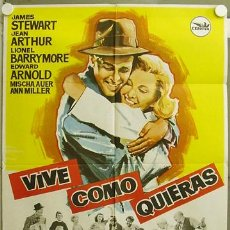 Cine: FP07 VIVE COMO QUIERAS JAMES STEWART FRANK CAPRA POSTER ORIGINAL 70X100. Lote 11487648