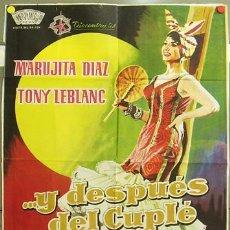 Cine: FQ87 Y DESPUES DEL CUPLE MARUJITA DIAZ TONY LEBLANC POSTER ORIGINAL 70X100 ESTRENO. Lote 10304104