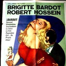 Cine: EL REPOSO DEL GUERRERO (CARTEL ORIGINAL DEL ESTRENO EN ARGENTINA 1962) BRIGITTE BARDOT. Lote 24567703