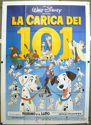 QJ16 101 DALMATAS WALT DISNEY POSTER ORIGINAL ITALIANO 140X200 (Cine - Posters y Carteles - Infantil)