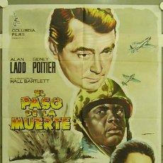 Cine: FZ10 EL PASO DE LA MUERTE ALAN LADD SIDNEY POITIER ALBERICIO POSTER ORIGINAL 70X100 ESTRENO. Lote 10627134