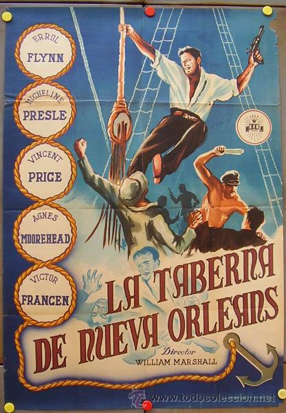 VX72D LA TABERNA DE NUEVA ORLEANS ERROL FLYNN POSTER ORIGINAL 70X100 ESTRENO LITOGRAFIA (Cine - Posters y Carteles - Aventura)