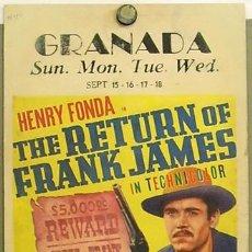 Cine: FZ44D VENGANZA DE FRANK JAMES GENE TIERNEY HENRY FONDA POSTER ORIGINAL WINDOW CARD AMERICANO 36X56. Lote 10663580