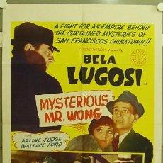 Cine: RE94D MYSTERIOUS MR. WONG BELA LUGOSI POSTER ORIGINAL AMERICANO 70X105. Lote 10678315
