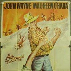 Cine: GB03 EL GRAN MACLINTOCK JOHN WAYNE MAUREEN O'HARA POSTER ORIGINAL 3 HOJAS 100X205 ESTRENO. Lote 16801345