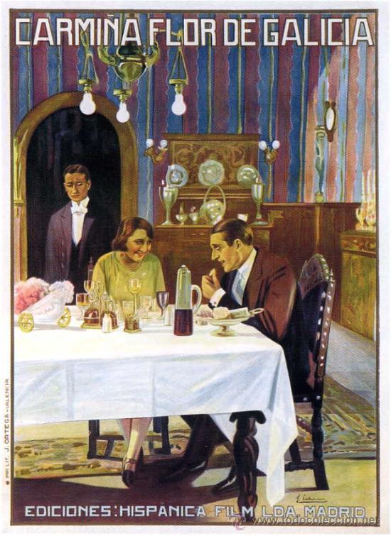 CINE MUDO.- CARMIÑA FLOR DE GALICIA.- LITOGRAFÍA, 1926, TAMAÑO 114X83 CM. REALIZADO POR ESTREMS. (Cine - Posters y Carteles - Clasico Español)