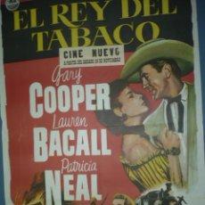 Cine: CARTEL DE CINE DE 1000X700 TITULO EL REY DEL TABACO GARY COOPER LAUREN BACALL. Lote 10896503