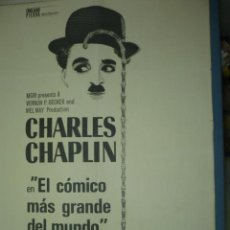 Cine: CARTEL DE CINE TAMAÑO 1000X700 TITULO CHARLES CHAPLIN EL COMICO MAS GRANDE DEL MUNDO. Lote 10900971