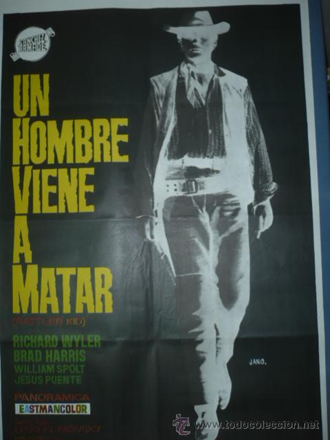 CARTEL DE CINE TAMAÑO 1000X700 TITULO UN HOMBRE VIENE A MATAR DIBUJA JANO (Cine - Posters y Carteles - Acción)