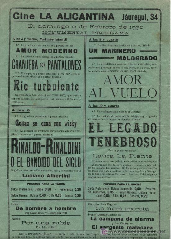 CINE LA ALICANTINA. PROGRAMACIÓN PARA 2 FEBRERO DE 1930. PEQUEÑO CARTEL (31,5 X 21) (Cine - Posters y Carteles - Clasico Español)