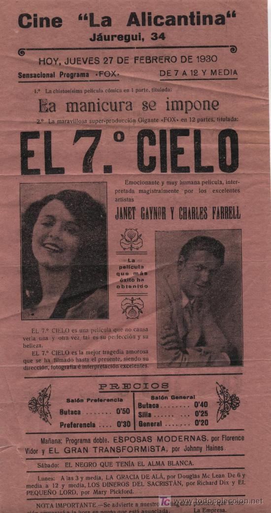 EL 7º CIELO. CINE LA ALICANTINA. 27 DE FEBRERO 1930. PEQUEÑO CARTEL (32 X 16) (Cine - Posters y Carteles - Clasico Español)