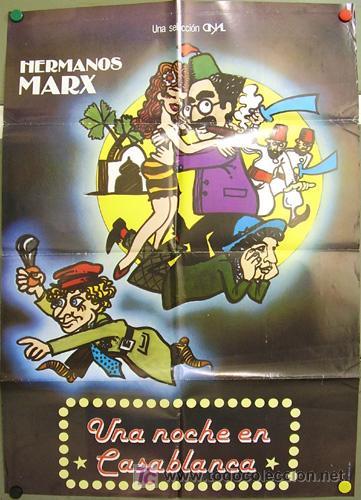 GD63 UNA NOCHE EN CASABLANCA HERMANOS MARX ZEN POSTER ORIGINAL 70X100 ESPAÑOL R-80S (Cine - Posters y Carteles - Comedia)