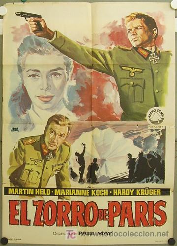 GJ63 EL ZORRO DE PARIS HARDY KRUGER MARIANNE KOCH MARTIN HELD POSTER ORIGINAL ESPAÑOL 70X100 ESTRENO (Cine - Posters y Carteles - Bélicas)