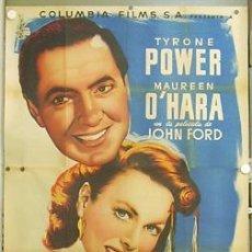 Cine: CCJ E225D CUNA DE HEROES TYRONE POWER MAUREEN O'HARA JOHN FORD MCP POSTER ORIG 3 HOJAS 100X205 LITO. Lote 18164579