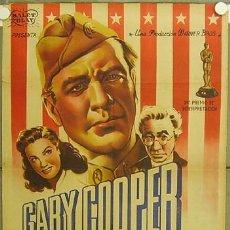 Cine: E232D SARGENTO YORK GARY COOPER HOWARD HAWKS POSTER ORIGINAL ESTRENO 70X100 LITOGRAFIA. Lote 16153873