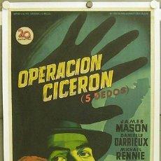 Cine: E259 OPERACION CICERON SOLIGO JAMES MASON POSTER ORIGINAL ESTRENO 70X100 ENTELADO LITOGRAFIA. Lote 21876392