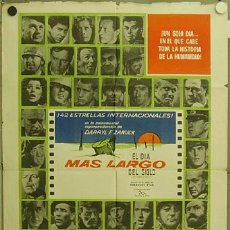 Cine: YY75D EL DIA MAS LARGO JOHN WAYNE ROBERT MITCHUM POSTER ORIGINAL ARGENTINO 75X110. Lote 11717415