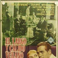 Cine: HF25 EL LARGO Y CALIDO VERANO PAUL NEWMAN ORSON WELLES JOANNE WOODWARD POSTER ORIG 70X100 ESTRENO. Lote 12292809