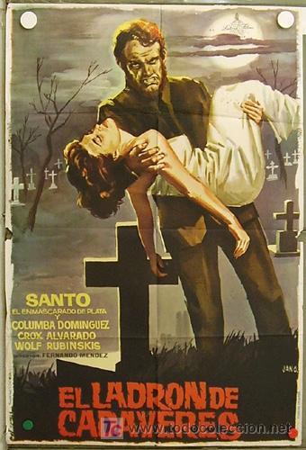 HH97 EL LADRON DE CADAVERES SANTO EL ENMASCARADO DE PLATA JANO POSTER ORIGINAL 70X100 ESTRENO (Cine - Posters y Carteles - Terror)