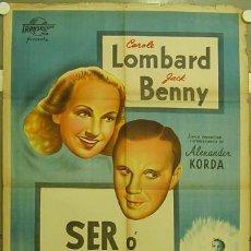 Cinema: ID70 SER O NO SER ERNST LUBISTCH JACK BENNY CAROLE LOMBARD POSTER ARGENTINO 75X110 LITOGRAFIA. Lote 13410678
