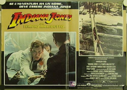ZM83D INDIANA JONES Y EL TEMPLO MALDITO STEVEN SPIELBERG HARRISON FORD SET 8 POSTERS ITALIANO 47X68 (Cine - Posters y Carteles - Aventura)