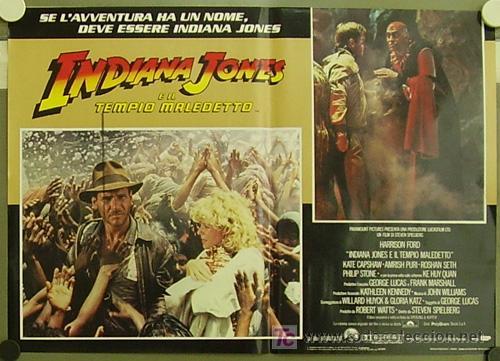 Cine: ZM83D INDIANA JONES Y EL TEMPLO MALDITO STEVEN SPIELBERG HARRISON FORD SET 8 POSTERS ITALIANO 47X68 - Foto 7 - 152133348
