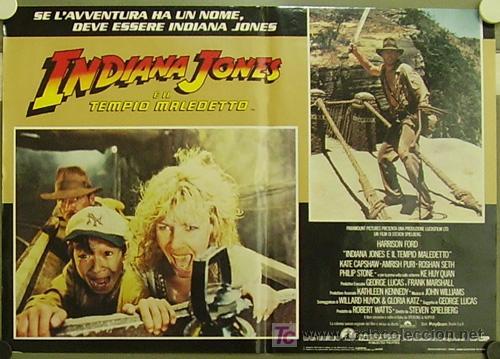 Cine: ZM83D INDIANA JONES Y EL TEMPLO MALDITO STEVEN SPIELBERG HARRISON FORD SET 8 POSTERS ITALIANO 47X68 - Foto 6 - 152133348