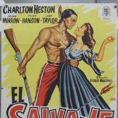 Cine: ZQ84D EL SALVAJE CHARLTON HESTON INDIOS POSTER ORIGINAL 70X100 ESTRENO LITOGRAFIA. Lote 12726472