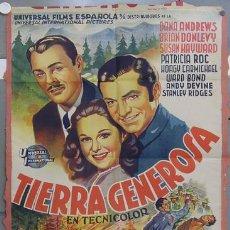 Cine: HS37 TIERRA GENEROSA SUSAN HAYWARD DANA ANDREWS POSTER ORIGINAL 70X100 ESTRENO LITOGRAFIA. Lote 12760364