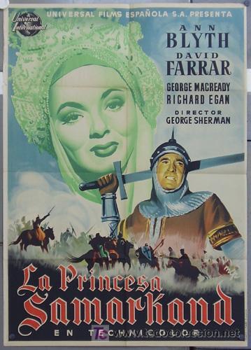 HS44 LA PRINCESA SAMARKAND ANN BLYTH POSTER ORIGINAL 70X100 ESTRENO LITOGRAFIA (Cine - Posters y Carteles - Aventura)