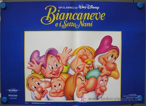 YE91 BLANCA NIEVES Y LOS 7 ENANITOS WALT DISNEY SET 8 POSTERS ORIGINAL ITALIANO 47X68 (Cine - Posters y Carteles - Infantil)