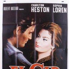 Cine: VV02D EL CID CHARLTON HESTON SOFIA LOREN ESPECTACULAR POSTER ORIGINAL ITALIANO 140X200. Lote 19889385