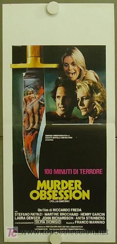HY29 MURDER OBSESSION FOLLIA OMICIDA RICARDO FREDA LAURA GEMSER GIALLO POSTER ORIG ITALIANO 33X70 (Cine - Posters y Carteles - Terror)