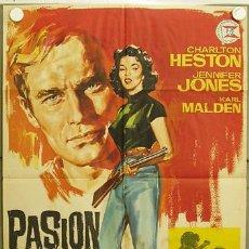 Cine: IE03 PASION BAJO LA NIEBLA CHARLTON HESTON JENNIFER JONES POSTER ORIGINAL ESTRENO 70X100. Lote 42049382