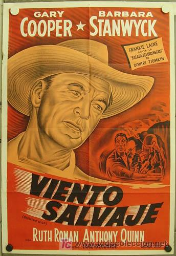 YZ32D SOPLO SALVAJE GARY COOPER BARBARA STANWYCK POSTER ORIGINAL 75X110 ARGENTINO LITOGRAFIA (Cine - Posters y Carteles - Westerns)