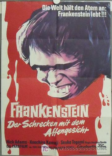 XD65D FRANKENSTEIN CONQUERS THE WORLD MONSTRUOS JAPONESES GODZILLA POSTER ORIGINAL ALEMAN 60X84 (Cine - Posters y Carteles - Terror)