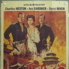 Cine: IM67 55 DIAS EN PEKIN CHARLTON HESTON AVA GARDNER NICHOLAS RAY POSTER ORIGINAL FRANCES 120X160. Lote 13720193