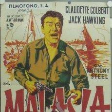 Cine: IO98 MALASIA JACK HAWKINS CLAUDETTE COLBERT JANO POSTER ORIGINAL 70X100 ESTRENO LITOGRAFIA. Lote 13910265