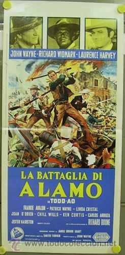 GY80 EL ALAMO JOHN WAYNE TODD-AO POSTER ORIGINAL 33X70 ITALIANO (Cine - Posters y Carteles - Westerns)