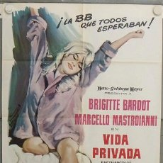 Cine: JN54 VIDA PRIVADA BRIGITTE BARDOT POSTER ORIGINAL 70X100 ESTRENO. Lote 14993118
