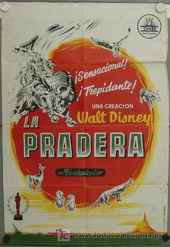 JN60 LA PRADERA WALT DISNEY POSTER ORIGINAL 70X100 ESTRENO LITOGRAFIA (Cine - Posters y Carteles - Documentales)