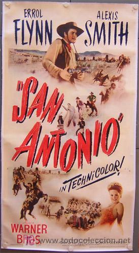 E1728D SAN ANTONIO ERROL FLYNN POSTER ORIGINAL AMERICANO 3 HOJAS 105X210 ENTELADO (Cine - Posters y Carteles - Westerns)