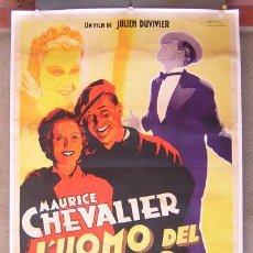 Cine: E300D MAURICE CHEVALIER L'HOMME DU JOUR POSTER ORIGINAL ITALIANO 140X200 LITOGRAFIA ENTELADO. Lote 19777244