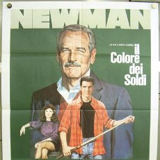 Cine: JO37 EL COLOR DEL DINERO PAUL NEWMAN TOM CRUISE SCORSESE BILLAR POSTER ORIGINAL ITALIANO 100X140. Lote 218910898